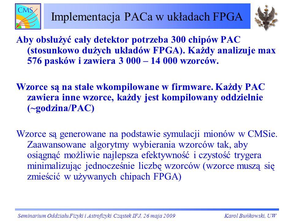 Implementacja PACa w układach FPGA Aby obsłużyć cały detektor potrzeba 300 chipów PAC (stosunkowo dużych układów FPGA). Każdy analizuje max 576 pasków