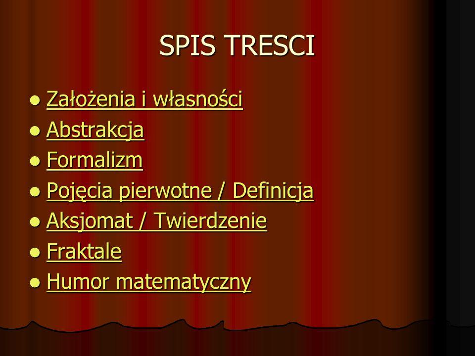SPIS TRESCI Założenia i własności Założenia i własności Założenia i własności Założenia i własności Abstrakcja Abstrakcja Abstrakcja Formalizm Formali