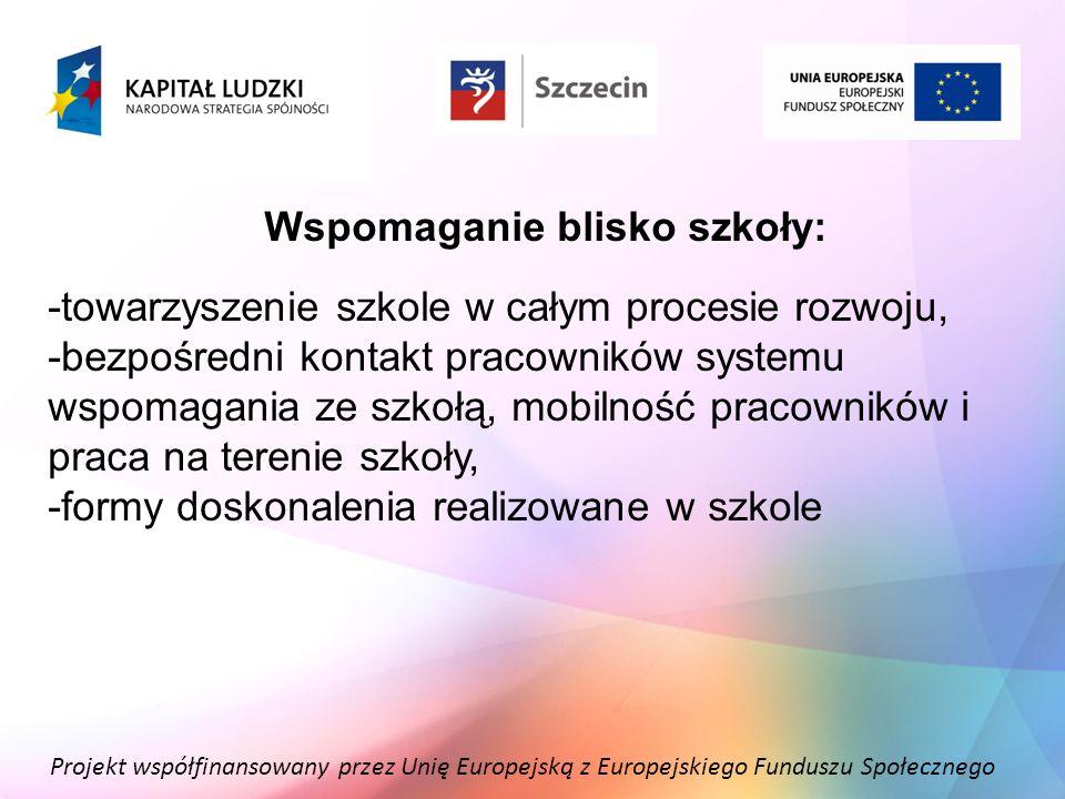 Projekt współfinansowany przez Unię Europejską z Europejskiego Funduszu Społecznego Wspomaganie blisko szkoły: -towarzyszenie szkole w całym procesie