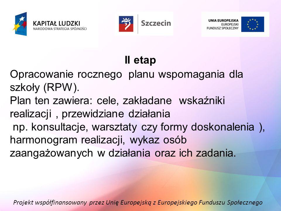 Projekt współfinansowany przez Unię Europejską z Europejskiego Funduszu Społecznego II etap Opracowanie rocznego planu wspomagania dla szkoły (RPW). P