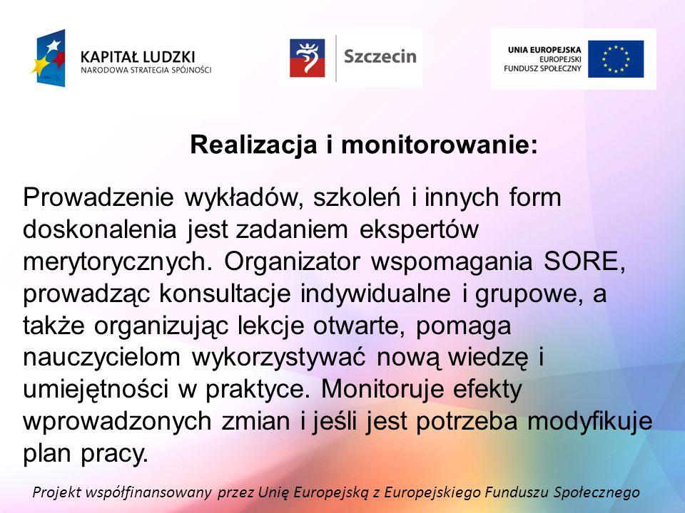 Projekt współfinansowany przez Unię Europejską z Europejskiego Funduszu Społecznego Realizacja i monitorowanie: Prowadzenie wykładów, szkoleń i innych