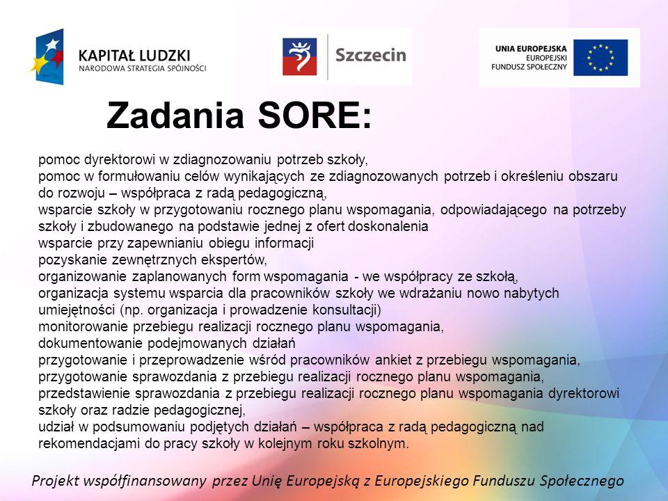Projekt współfinansowany przez Unię Europejską z Europejskiego Funduszu Społecznego Zadania SORE: pomoc dyrektorowi w zdiagnozowaniu potrzeb szkoły, p