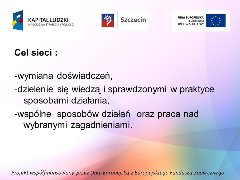 Projekt współfinansowany przez Unię Europejską z Europejskiego Funduszu Społecznego Cel sieci : -wymiana doświadczeń, -dzielenie się wiedzą i sprawdzo