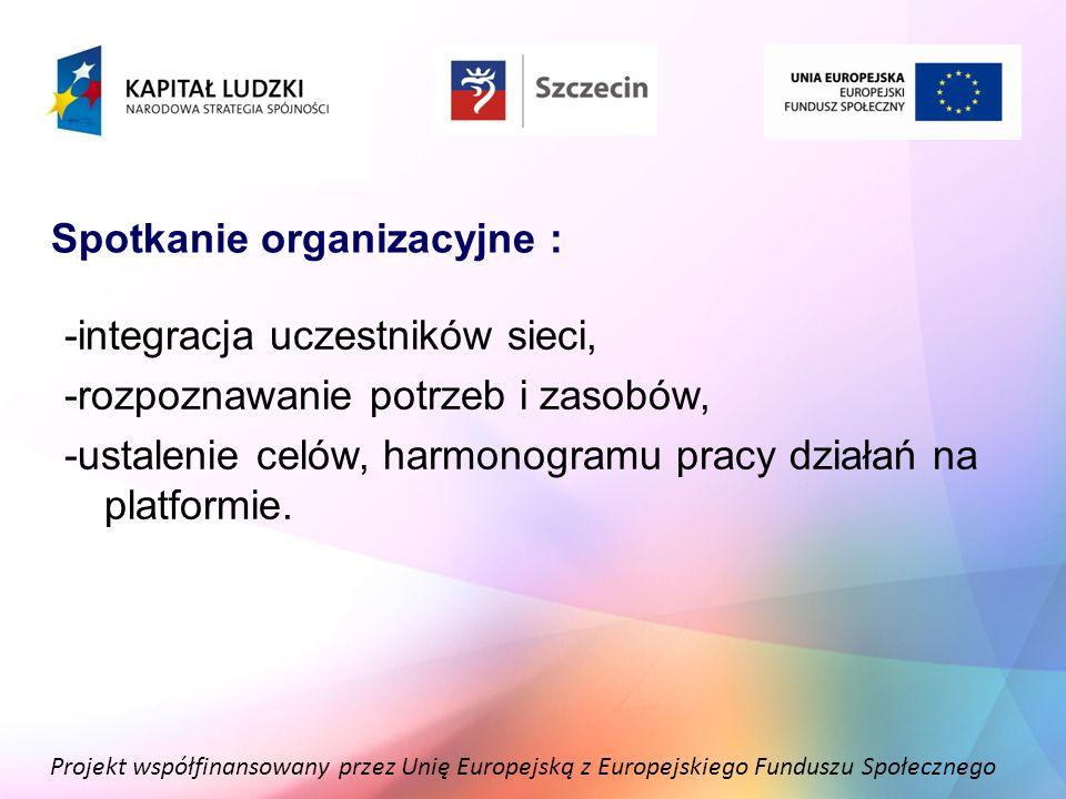 Projekt współfinansowany przez Unię Europejską z Europejskiego Funduszu Społecznego Spotkanie organizacyjne : -integracja uczestników sieci, -rozpozna