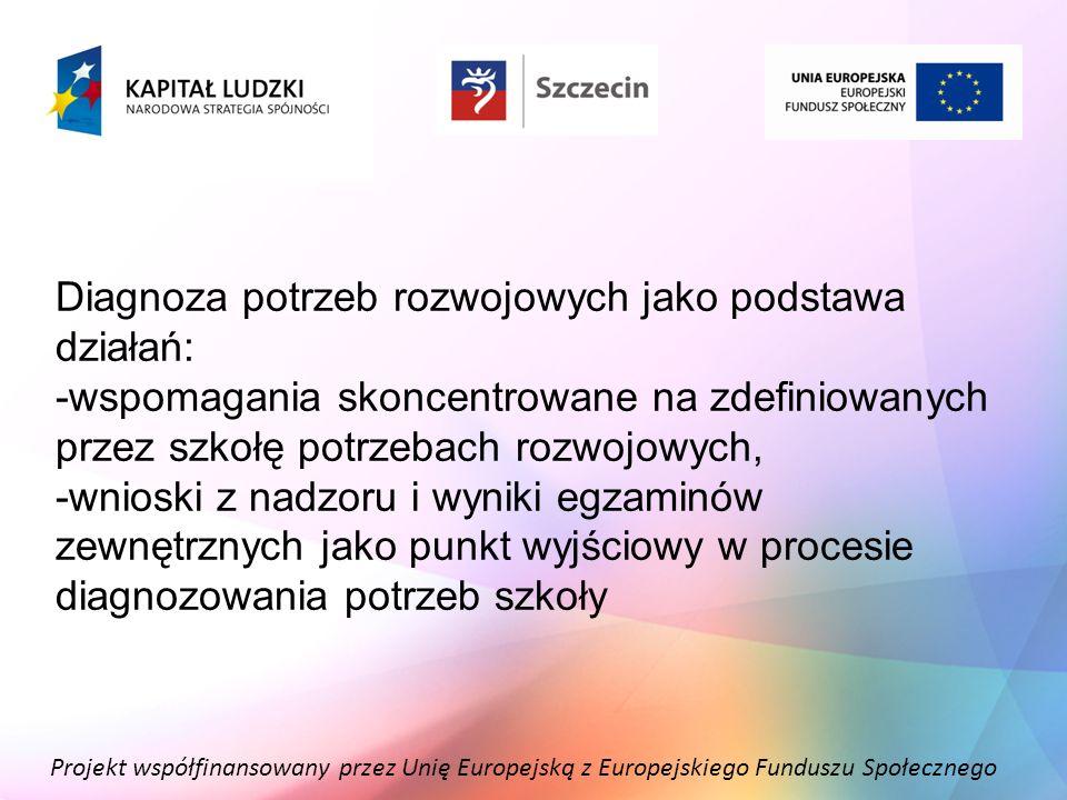 Projekt współfinansowany przez Unię Europejską z Europejskiego Funduszu Społecznego Diagnoza potrzeb rozwojowych jako podstawa działań: -wspomagania s