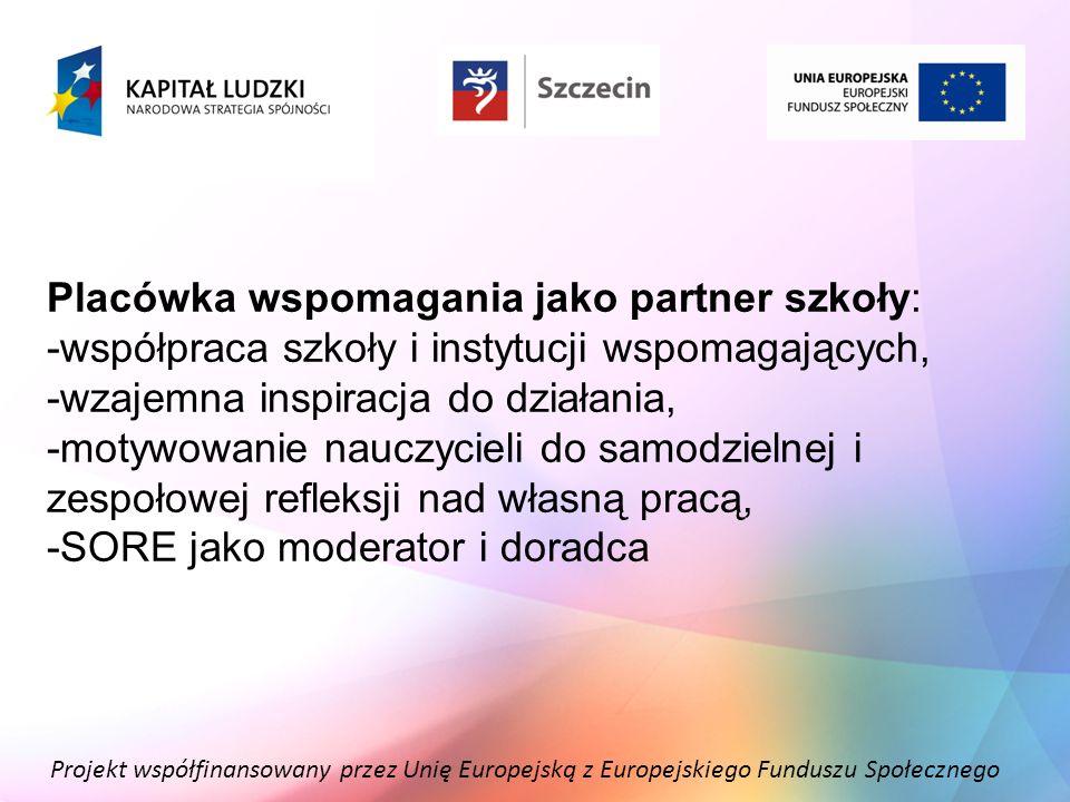 Projekt współfinansowany przez Unię Europejską z Europejskiego Funduszu Społecznego Placówka wspomagania jako partner szkoły: -współpraca szkoły i ins