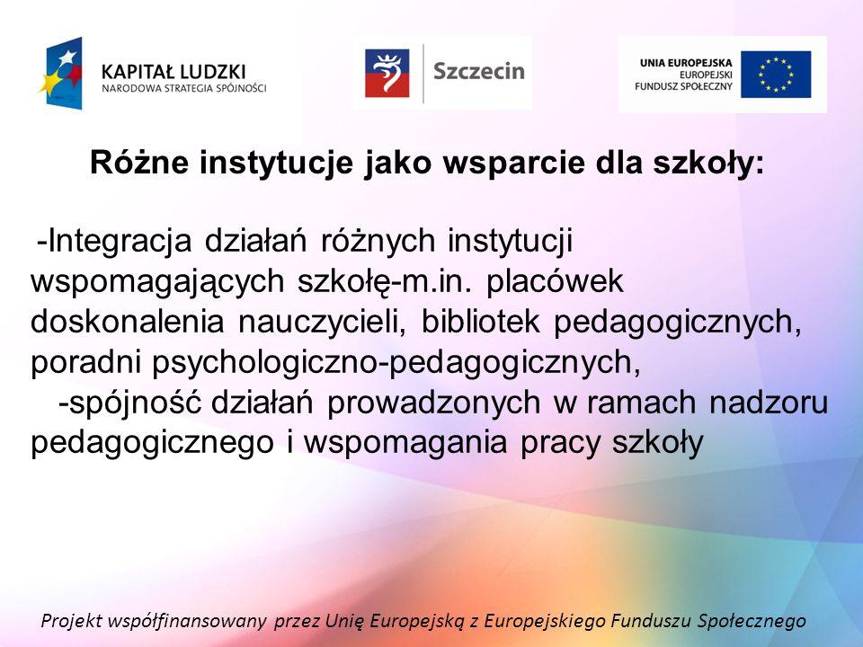 Projekt współfinansowany przez Unię Europejską z Europejskiego Funduszu Społecznego Wspomaganie jako proces: -towarzyszenie szkole w procesie rozwoju od diagnozy potrzeb przez zaplanowanie i przeprowadzenie działań wspomagających szkołę, pomoc w wykorzystaniu wiedzy i umiejętności w pracy zawodowej nauczycieli, po monitorowanie zmian.