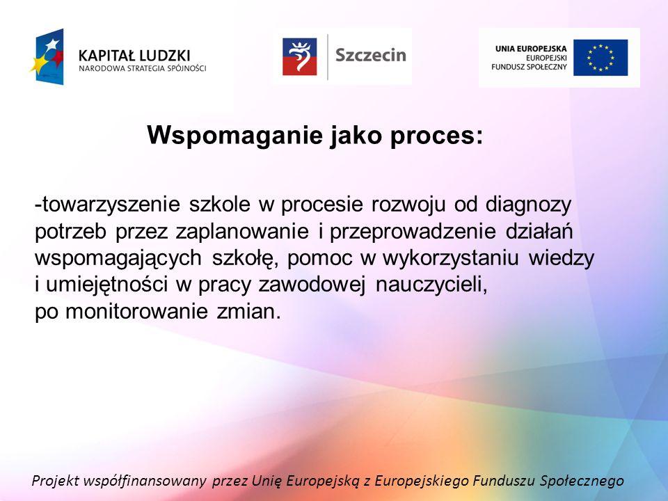 Projekt współfinansowany przez Unię Europejską z Europejskiego Funduszu Społecznego Wspomaganie jako proces: -towarzyszenie szkole w procesie rozwoju
