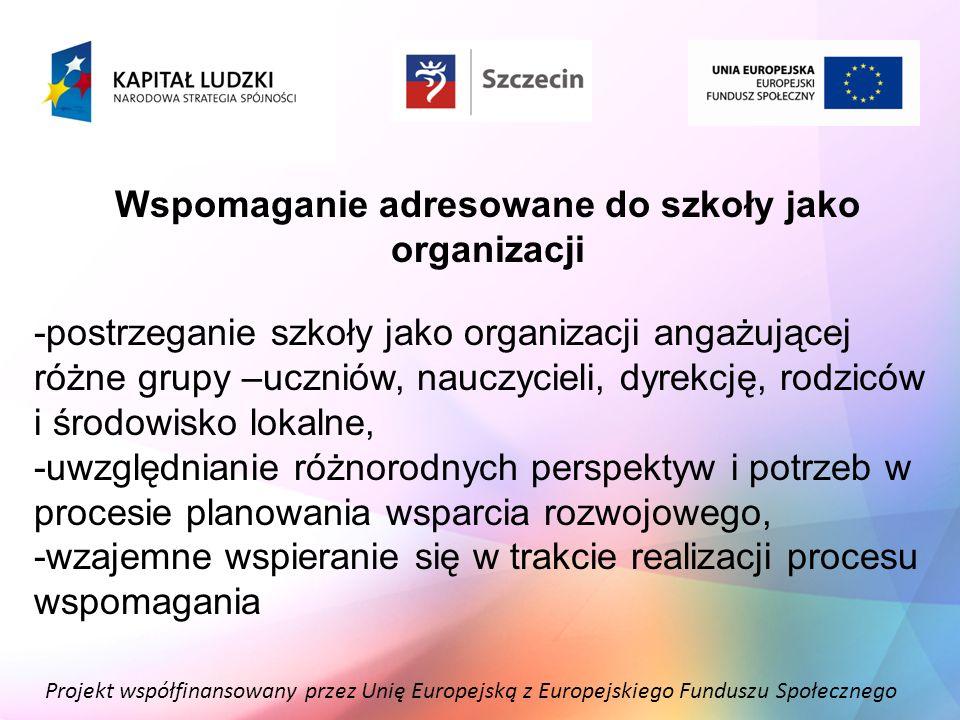 Projekt współfinansowany przez Unię Europejską z Europejskiego Funduszu Społecznego Wspomaganie adresowane do szkoły jako organizacji -postrzeganie sz