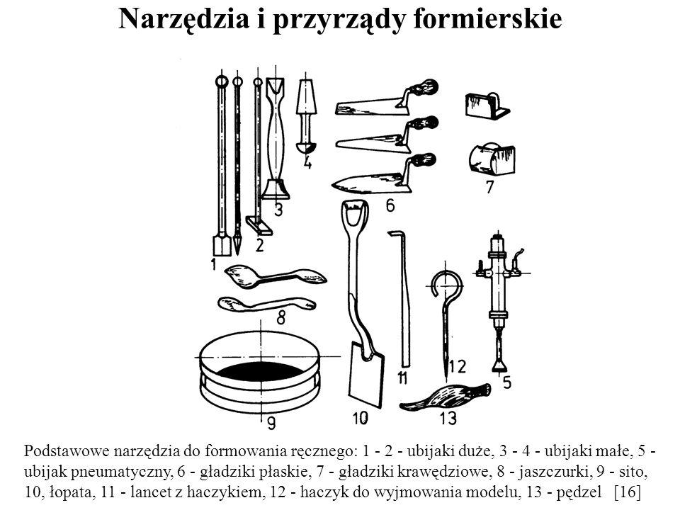 Narzędzia i przyrządy formierskie Podstawowe narzędzia do formowania ręcznego: 1 - 2 - ubijaki duże, 3 - 4 - ubijaki małe, 5 - ubijak pneumatyczny, 6