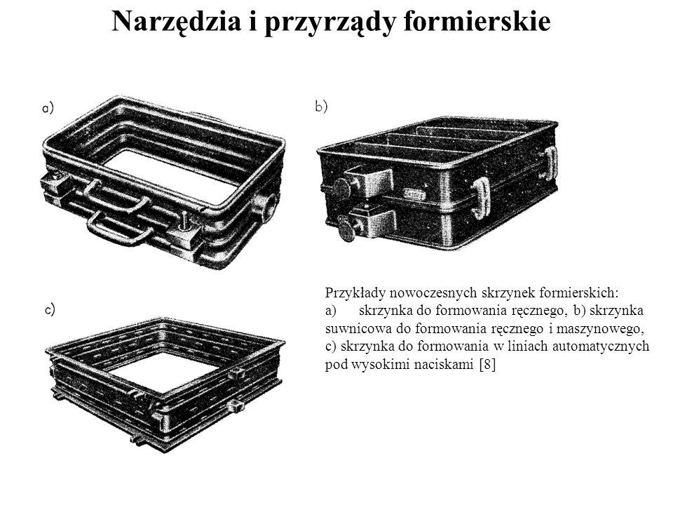 Narzędzia i przyrządy formierskie Przykłady nowoczesnych skrzynek formierskich: a)skrzynka do formowania ręcznego, b) skrzynka suwnicowa do formowania