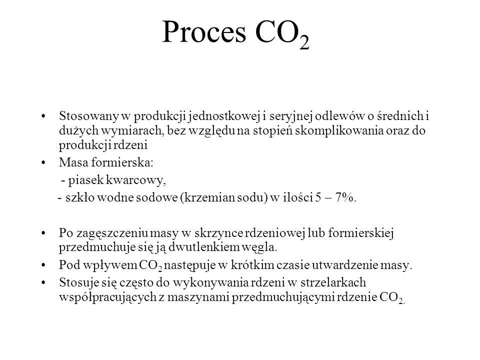 Proces CO 2 Stosowany w produkcji jednostkowej i seryjnej odlewów o średnich i dużych wymiarach, bez względu na stopień skomplikowania oraz do produkc