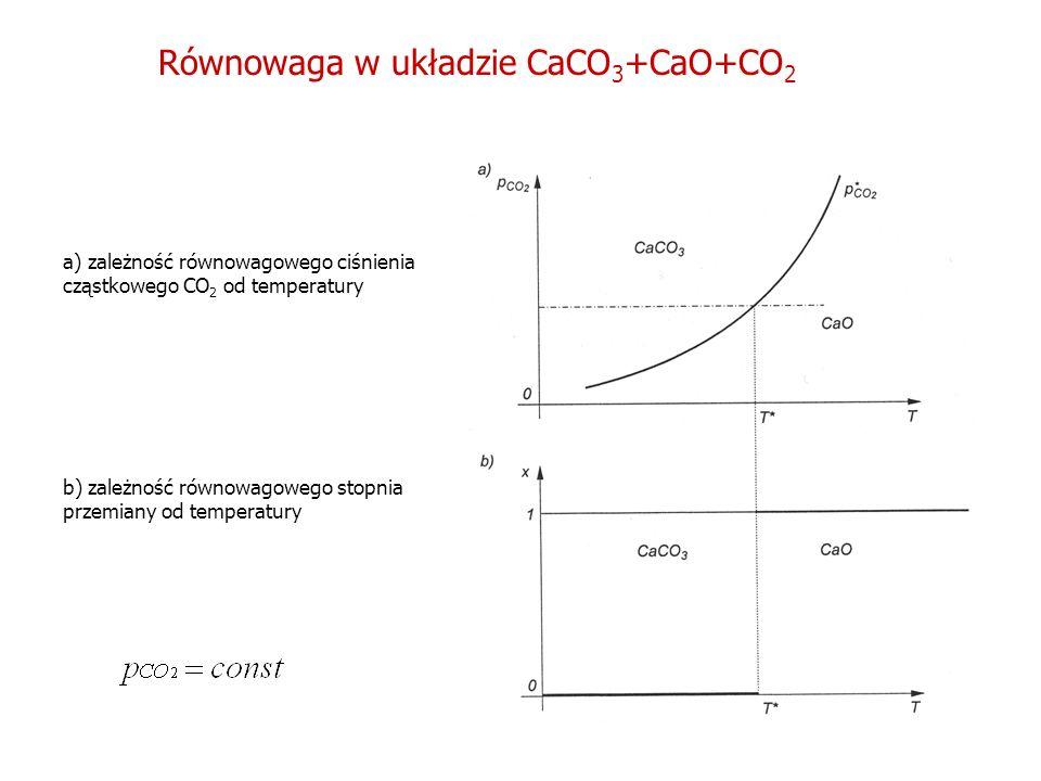 Równowaga w układzie CaCO 3 +CaO+CO 2 a) zależność równowagowego ciśnienia cząstkowego CO 2 od temperatury b) zależność równowagowego stopnia przemian