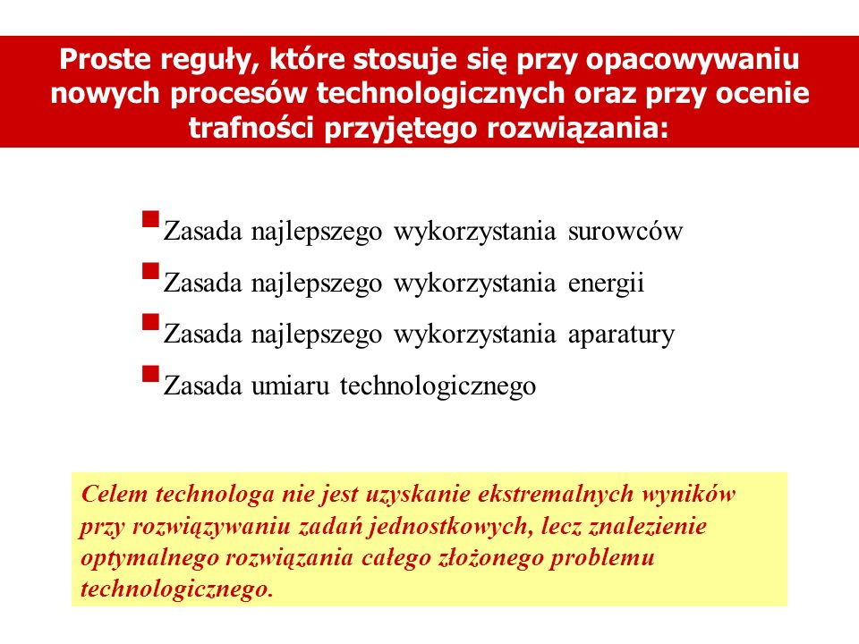 Proste reguły, które stosuje się przy opacowywaniu nowych procesów technologicznych oraz przy ocenie trafności przyjętego rozwiązania: Zasada najlepsz
