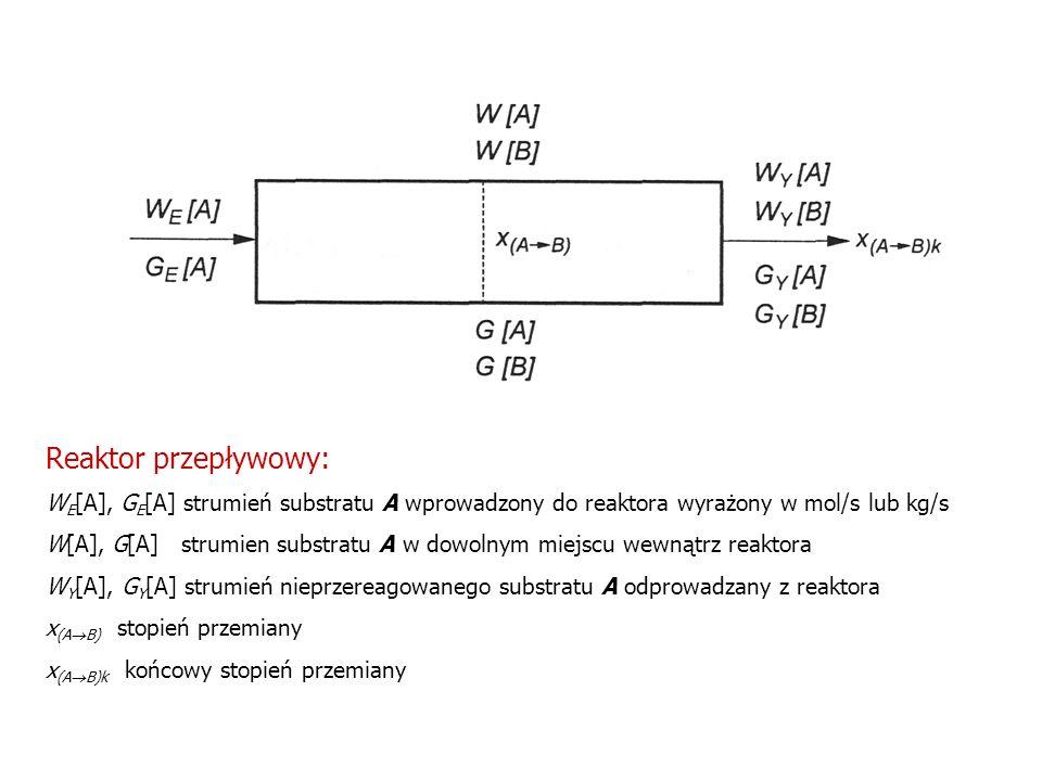 Reaktor przepływowy: W E [A], G E [A] strumień substratu A wprowadzony do reaktora wyrażony w mol/s lub kg/s W[A], G[A] strumien substratu A w dowolny