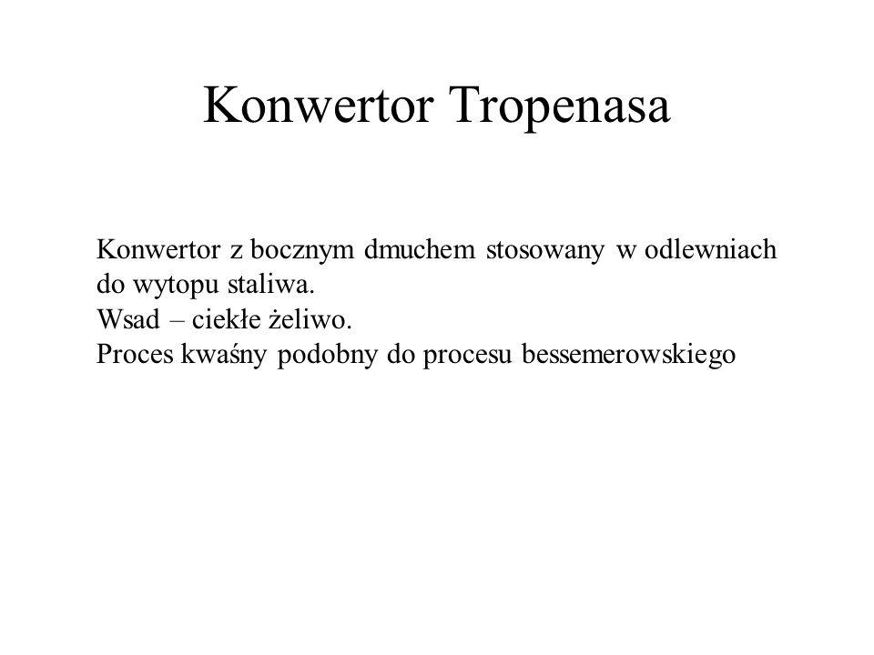 Konwertor Tropenasa Konwertor z bocznym dmuchem stosowany w odlewniach do wytopu staliwa. Wsad – ciekłe żeliwo. Proces kwaśny podobny do procesu besse