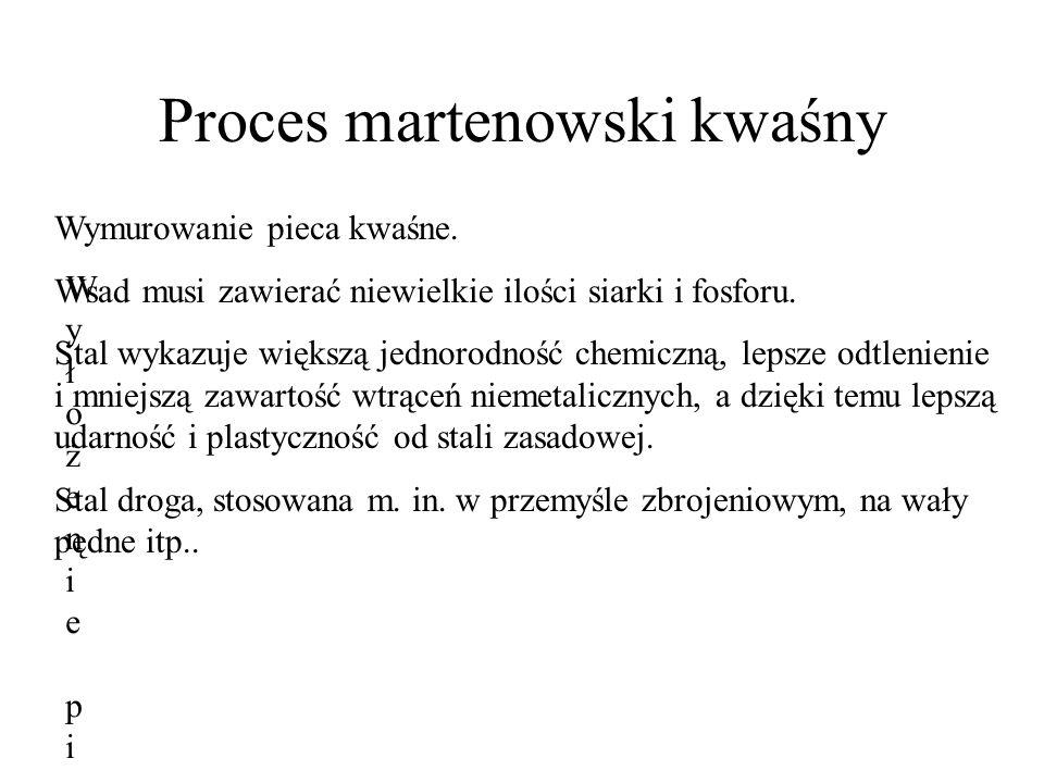 Proces martenowski kwaśny Wyłożenie pieca kwaśneWyłożenie pieca kwaśne Wymurowanie pieca kwaśne. Wsad musi zawierać niewielkie ilości siarki i fosforu