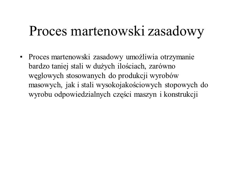 Proces martenowski zasadowy Proces martenowski zasadowy umożliwia otrzymanie bardzo taniej stali w dużych ilościach, zarówno węglowych stosowanych do