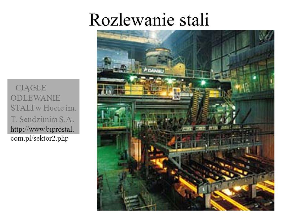 Rozlewanie stali CIĄGŁE ODLEWANIE STALI w Hucie im. T. Sendzimira S.A. http://www.biprostal. com.pl/sektor2.php