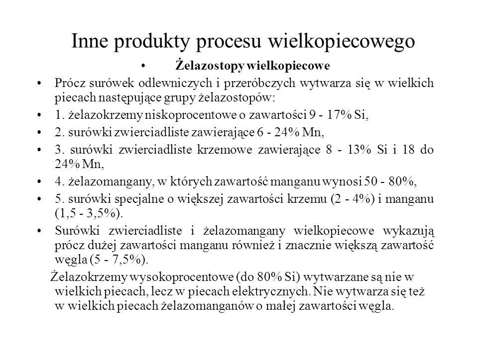 Inne produkty procesu wielkopiecowego Żelazostopy wielkopiecowe Prócz surówek odlewniczych i przeróbczych wytwarza się w wielkich piecach następujące