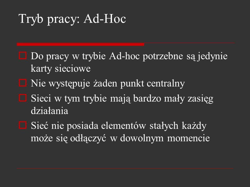 Tryb pracy: Ad-Hoc Do pracy w trybie Ad-hoc potrzebne są jedynie karty sieciowe Nie występuje żaden punkt centralny Sieci w tym trybie mają bardzo mał