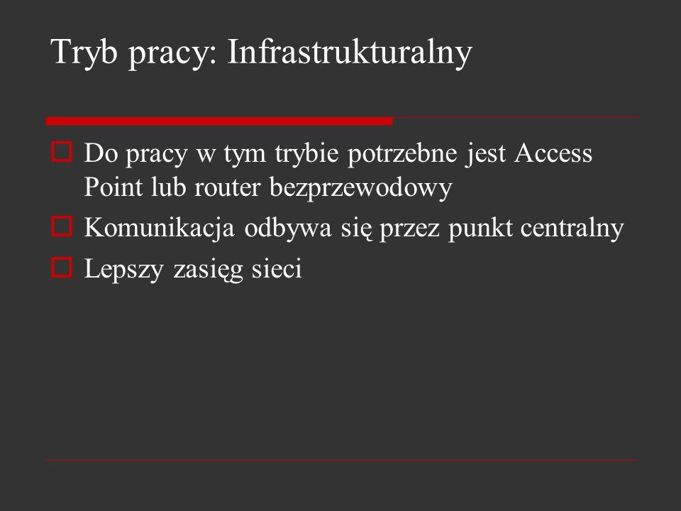 Tryb pracy: Infrastrukturalny Do pracy w tym trybie potrzebne jest Access Point lub router bezprzewodowy Komunikacja odbywa się przez punkt centralny