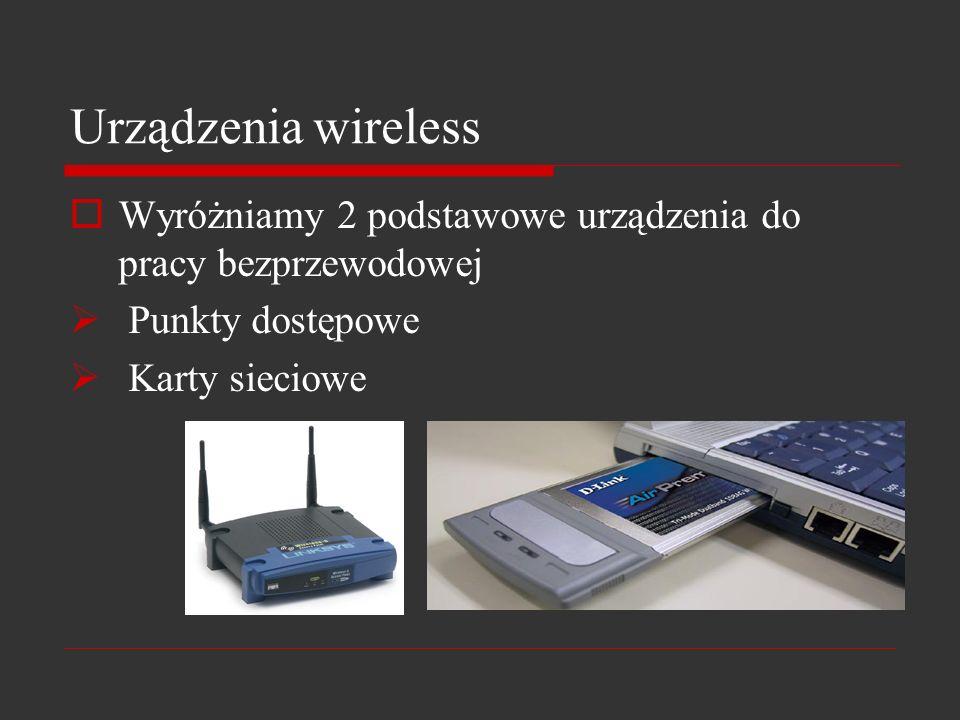 Urządzenia wireless Wyróżniamy 2 podstawowe urządzenia do pracy bezprzewodowej Punkty dostępowe Karty sieciowe