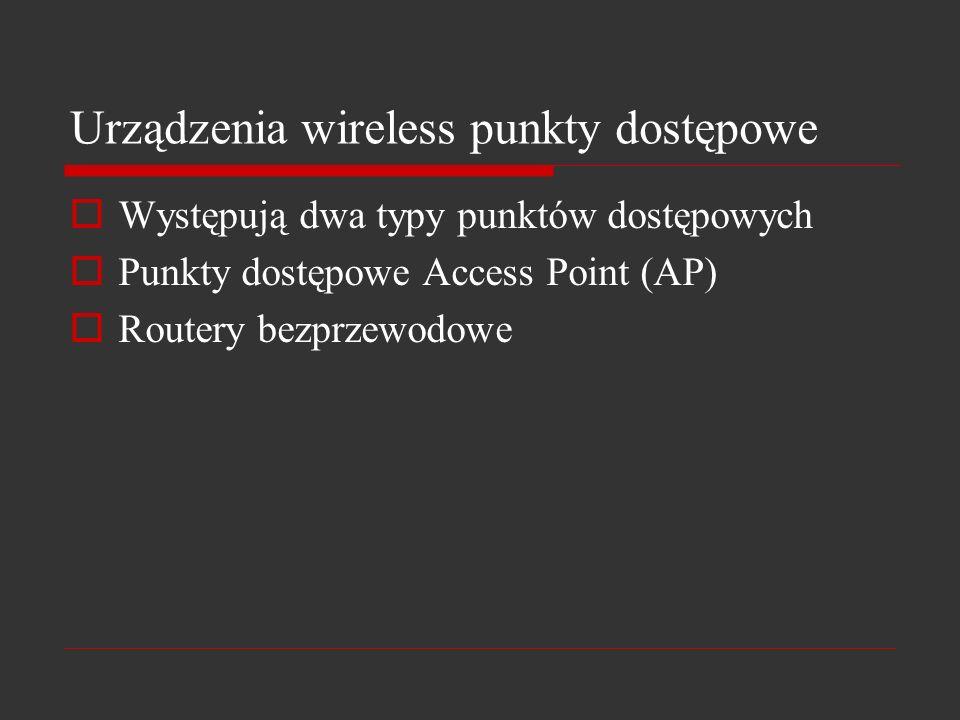 Urządzenia wireless punkty dostępowe Występują dwa typy punktów dostępowych Punkty dostępowe Access Point (AP) Routery bezprzewodowe