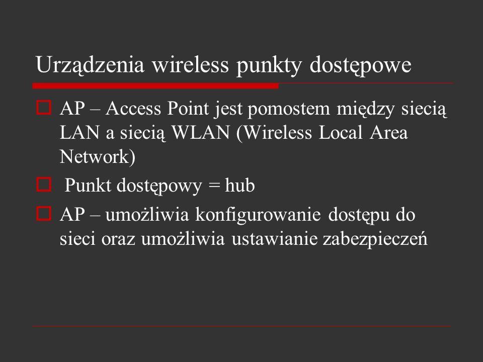 Urządzenia wireless punkty dostępowe AP – Access Point jest pomostem między siecią LAN a siecią WLAN (Wireless Local Area Network) Punkt dostępowy = h