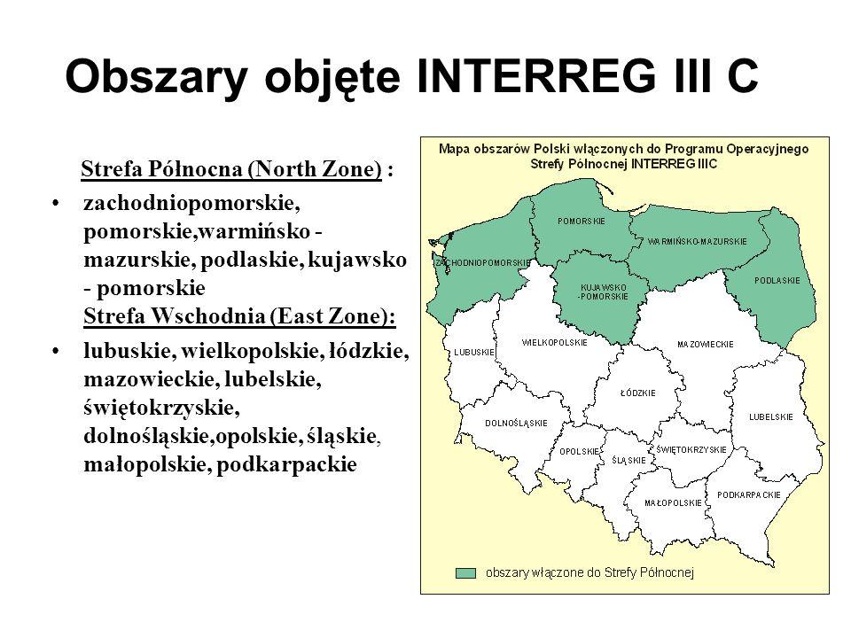 Obszary objęte INTERREG III C Strefa Północna (North Zone) : zachodniopomorskie, pomorskie,warmińsko - mazurskie, podlaskie, kujawsko - pomorskie Stre
