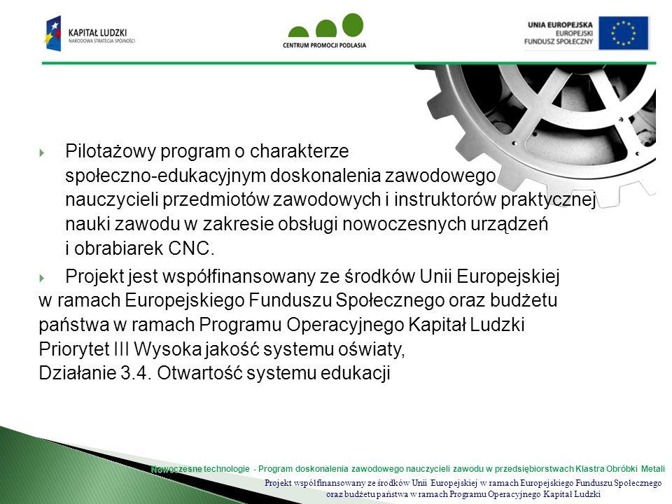 Projekt współfinansowany ze środków Unii Europejskiej w ramach Europejskiego Funduszu Społecznego oraz budżetu państwa w ramach Programu Operacyjnego Kapitał Ludzki Nowoczesne Nowoczesne technologie - Program doskonalenia zawodowego nauczycieli zawodu w przedsiębiorstwach Klastra Obróbki Metali zapoznanie nauczycieli z warunkami i specyfiką pracy firm Klastra Obróbki Metali nabycie umiejętności obsługi nowoczesnych urządzeń i obrabiarek; przygotowanie i wdrożenie programu doskonalenia zawodowego dla nauczycieli nauki zawodu i instruktorów praktycznej nauki zawodu; aktualizacja wiedzy, podniesienie jakości nauczania w szkolnictwie zawodowym w zakresie obsługi nowoczesnego sprzętu i urządzeń; rozwinięcie współpracy środowiska nauczycieli szkolnictwa zawodowego z przedsiębiorcami; Cele projektu
