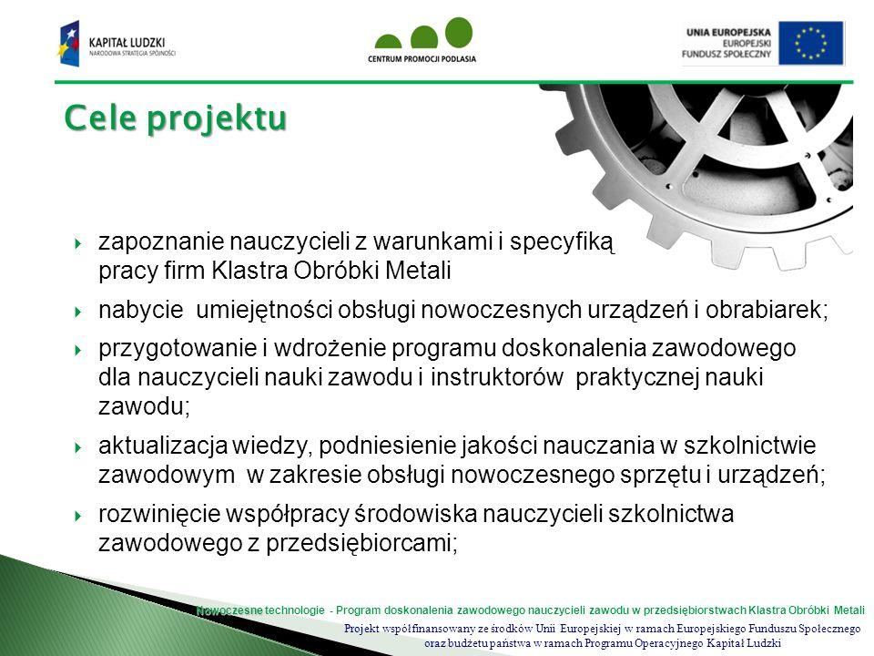Projekt współfinansowany ze środków Unii Europejskiej w ramach Europejskiego Funduszu Społecznego oraz budżetu państwa w ramach Programu Operacyjnego Kapitał Ludzki Nowoczesne Nowoczesne technologie - Program doskonalenia zawodowego nauczycieli zawodu w przedsiębiorstwach Klastra Obróbki Metali Uczestnicy projektu Aby wziąć udział w projekcie uczestnik powinien spełnić następujące warunki: zgłosić udział w projekcie, poprzez złożenie wymaganych dokumentów; wykonywać zawód nauczyciela przedmiotów zawodowych lub instruktora praktycznej nauki zawodu (profil mechaniczny, mechatroniczny, obróbki metali); posiadać zameldowanie stałe lub czasowe na terenie województwa podlaskiego Dokumenty zgłoszeniowe do udziału w projekcie: formularz zgłoszeniowy; zaświadczenia o zatrudnieniu potwierdzającego status zawodowy; oświadczenia o zameldowaniu kserokopia dowodu osobistego – potwierdzonej za zgodność z oryginałem; Komplet dokumentów w oryginale powinien zostać dostarczony osobiście do Biura projektu lub wysłany listem poleconym.