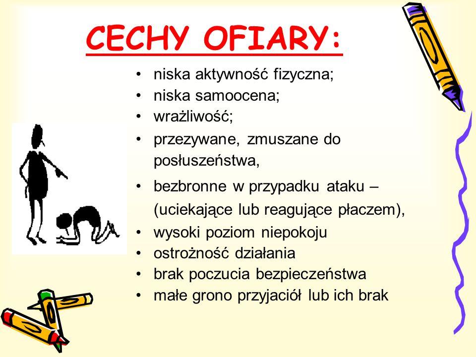 CECHY OFIARY: niska aktywność fizyczna; niska samoocena; wrażliwość; przezywane, zmuszane do posłuszeństwa, bezbronne w przypadku ataku – (uciekające