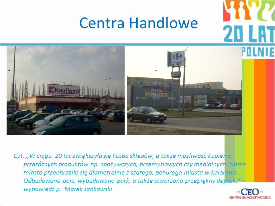Centra Handlowe Cyt.,,W ciągu 20 lat zwiększyła się liczba sklepów, a także możliwość kupienia przeróżnych produktów np. spożywczych, przemysłowych cz