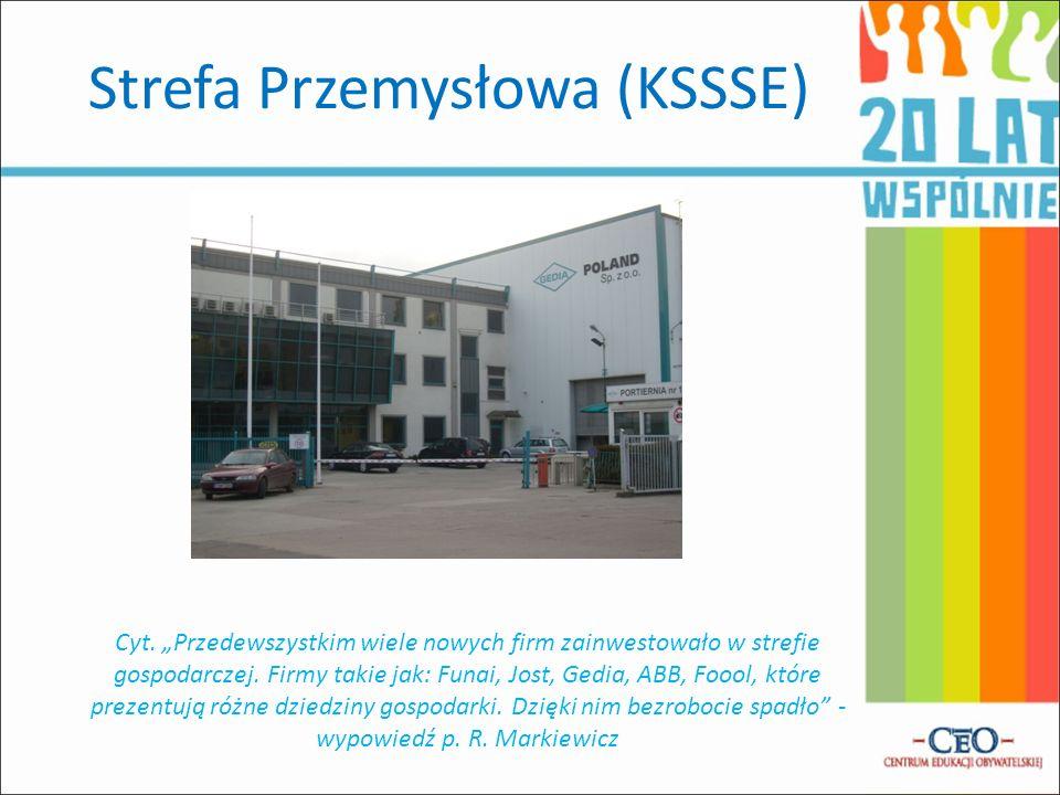 Strefa Przemysłowa (KSSSE) Cyt. Przedewszystkim wiele nowych firm zainwestowało w strefie gospodarczej. Firmy takie jak: Funai, Jost, Gedia, ABB, Fooo