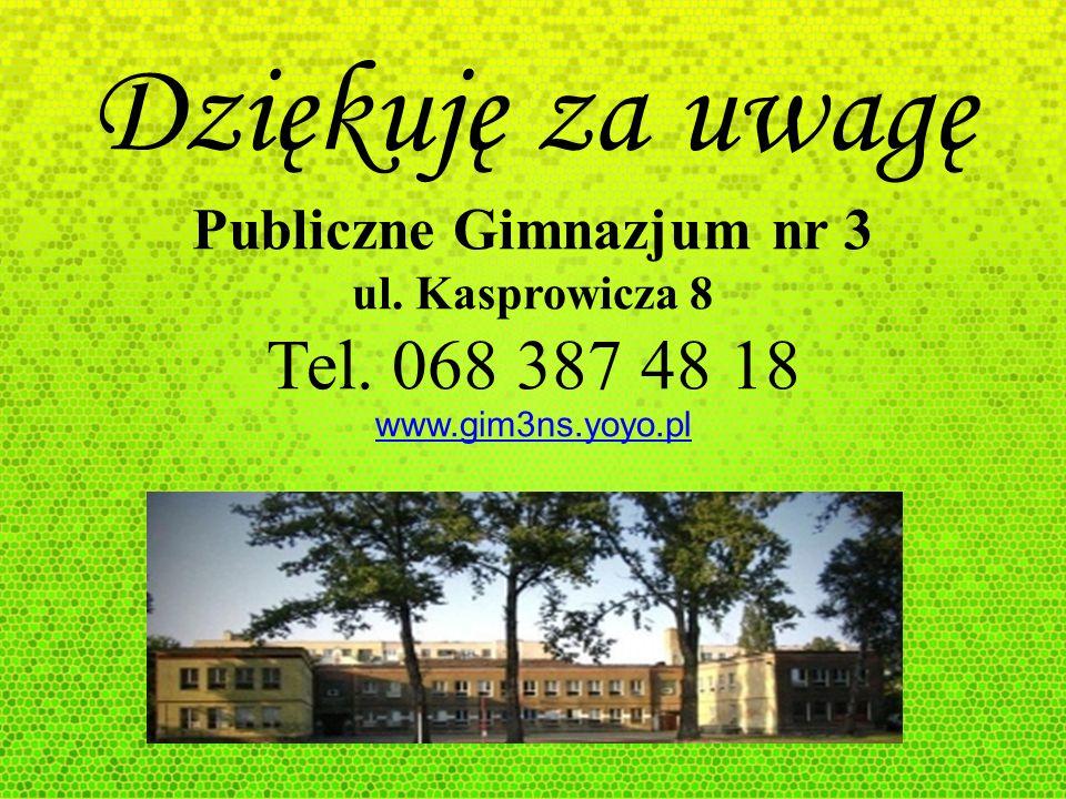 Dziękuję za uwagę Publiczne Gimnazjum nr 3 ul. Kasprowicza 8 Tel. 068 387 48 18 www.gim3ns.yoyo.pl