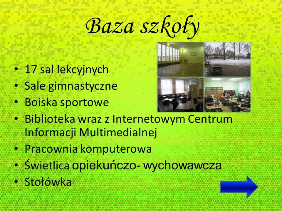 Baza szkoły 17 sal lekcyjnych Sale gimnastyczne Boiska sportowe Biblioteka wraz z Internetowym Centrum Informacji Multimedialnej Pracownia komputerowa