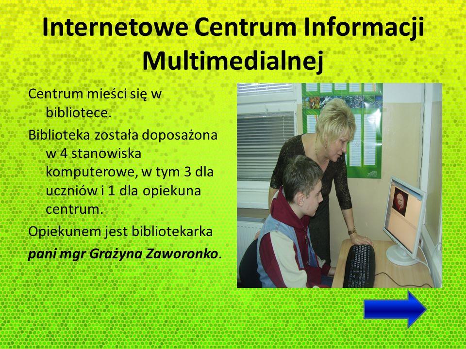 Internetowe Centrum Informacji Multimedialnej Stanowiska komputerowe w ICIM zostały zainstalowane w celu: - udostępniania zbiorów i źródeł informacji niezbędnych do nauki, pracy dydaktycznej oraz prac naukowo- badawczych - redagowania przez uczniów prac szkolnych - redagowania przez nauczycieli prac związanych z prowadzonym procesem dydaktycznym
