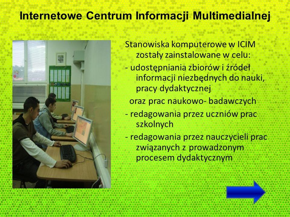 Internetowe Centrum Informacji Multimedialnej Stanowiska komputerowe w ICIM zostały zainstalowane w celu: - udostępniania zbiorów i źródeł informacji