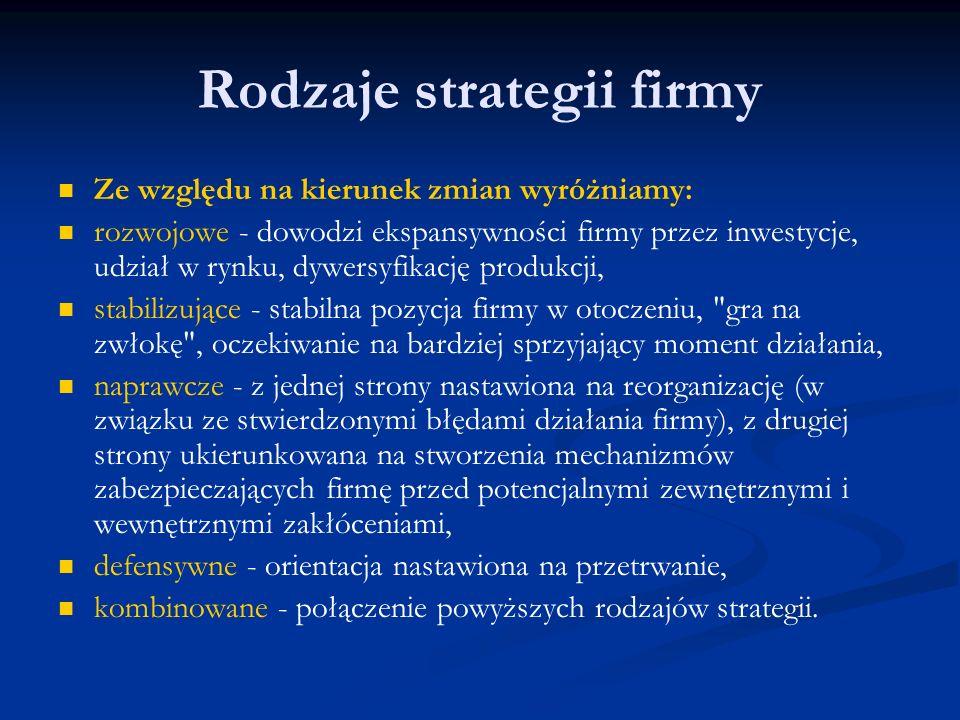 Rodzaje strategii firmy Ze względu na kierunek zmian wyróżniamy: rozwojowe - dowodzi ekspansywności firmy przez inwestycje, udział w rynku, dywersyfik