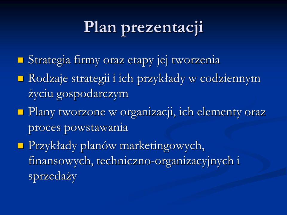 Plan prezentacji Strategia firmy oraz etapy jej tworzenia Strategia firmy oraz etapy jej tworzenia Rodzaje strategii i ich przykłady w codziennym życi