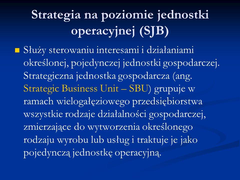 Strategia na poziomie jednostki operacyjnej (SJB) Służy sterowaniu interesami i działaniami określonej, pojedynczej jednostki gospodarczej. Strategicz