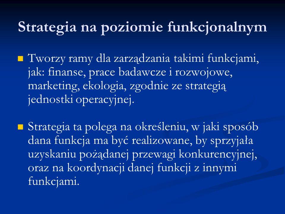 Strategia na poziomie funkcjonalnym Tworzy ramy dla zarządzania takimi funkcjami, jak: finanse, prace badawcze i rozwojowe, marketing, ekologia, zgodn