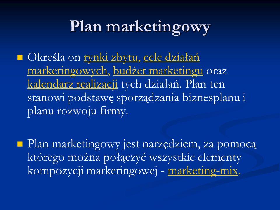 Plan marketingowy Określa on rynki zbytu, cele działań marketingowych, budżet marketingu oraz kalendarz realizacji tych działań. Plan ten stanowi pods