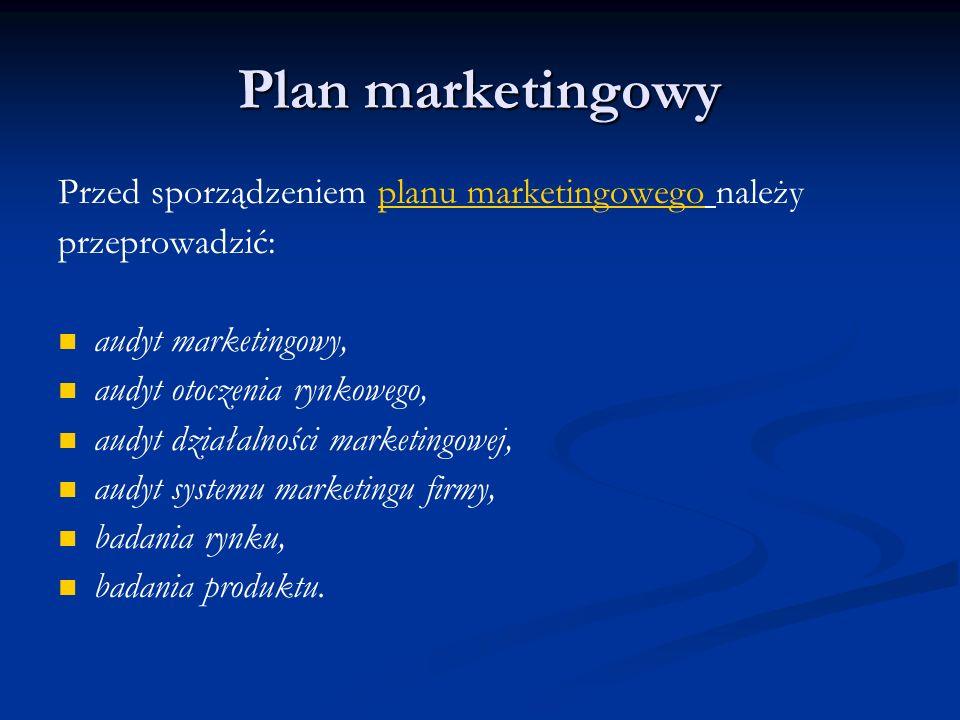 Plan marketingowy Przed sporządzeniem planu marketingowego należy przeprowadzić: audyt marketingowy, audyt otoczenia rynkowego, audyt działalności mar