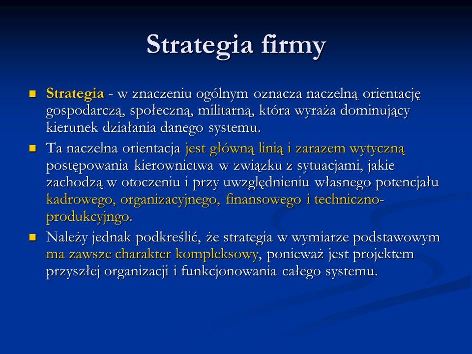 Strategia firmy Strategia - w znaczeniu ogólnym oznacza naczelną orientację gospodarczą, społeczną, militarną, która wyraża dominujący kierunek działa