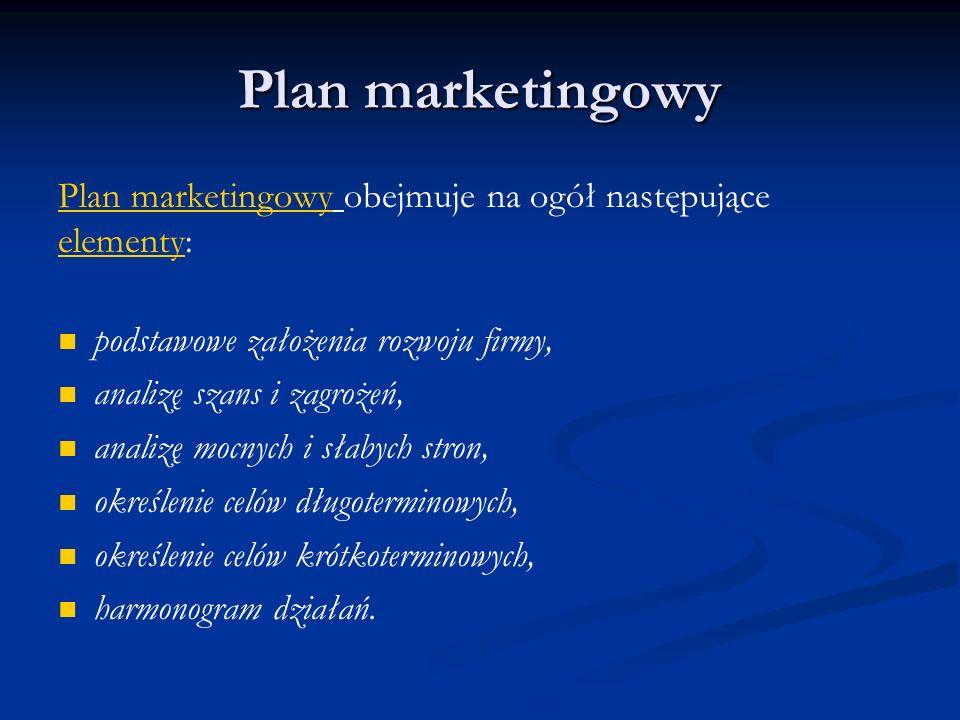 Plan marketingowy Plan marketingowy obejmuje na ogół następujące elementy: podstawowe założenia rozwoju firmy, analizę szans i zagrożeń, analizę mocny