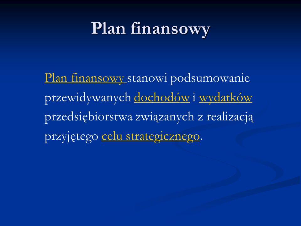 Plan finansowy Plan finansowy stanowi podsumowanie przewidywanych dochodów i wydatków przedsiębiorstwa związanych z realizacją przyjętego celu strateg