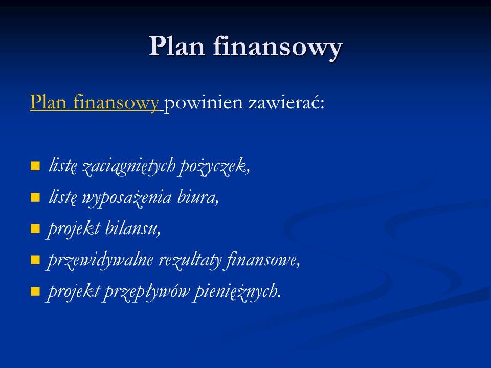 Plan finansowy Plan finansowy powinien zawierać: listę zaciągniętych pożyczek, listę wyposażenia biura, projekt bilansu, przewidywalne rezultaty finan