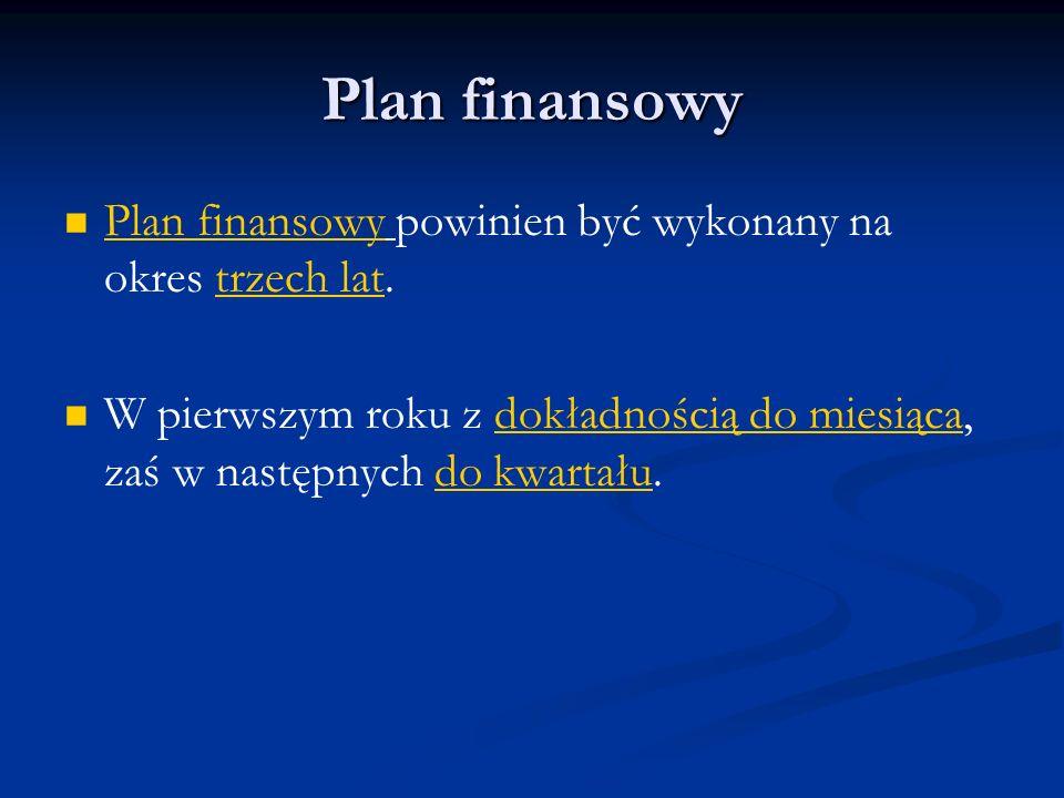 Plan finansowy Plan finansowy powinien być wykonany na okres trzech lat. W pierwszym roku z dokładnością do miesiąca, zaś w następnych do kwartału.